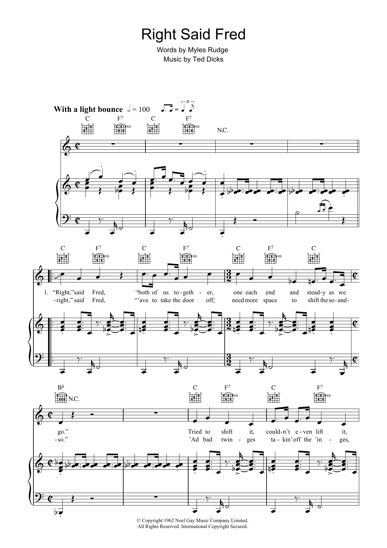 Bernard Cribbins Right Said Fred sheet music preview music notes and score for Easy Piano including 4 page(s)