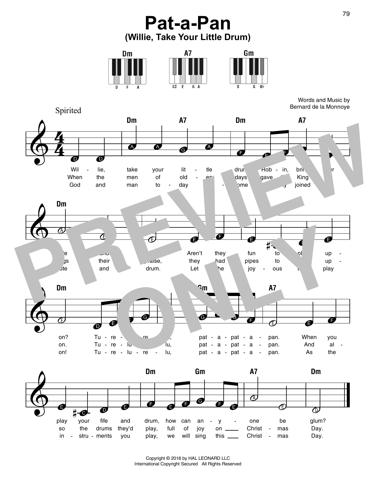 Download Bernard de la Monnoye 'Pat-A-Pan (Willie, Take Your Little Drum)' Digital Sheet Music Notes & Chords and start playing in minutes
