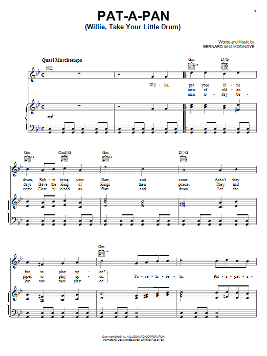 Bernard de la Monnoye Pat-A-Pan (Willie, Take Your Little Drum) sheet music preview music notes and score for Easy Piano including 3 page(s)
