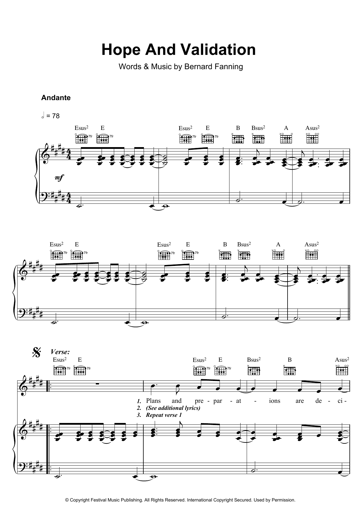 Bernard Fanning Hope And Validation sheet music preview music notes and score for Piano, Vocal & Guitar including 5 page(s)