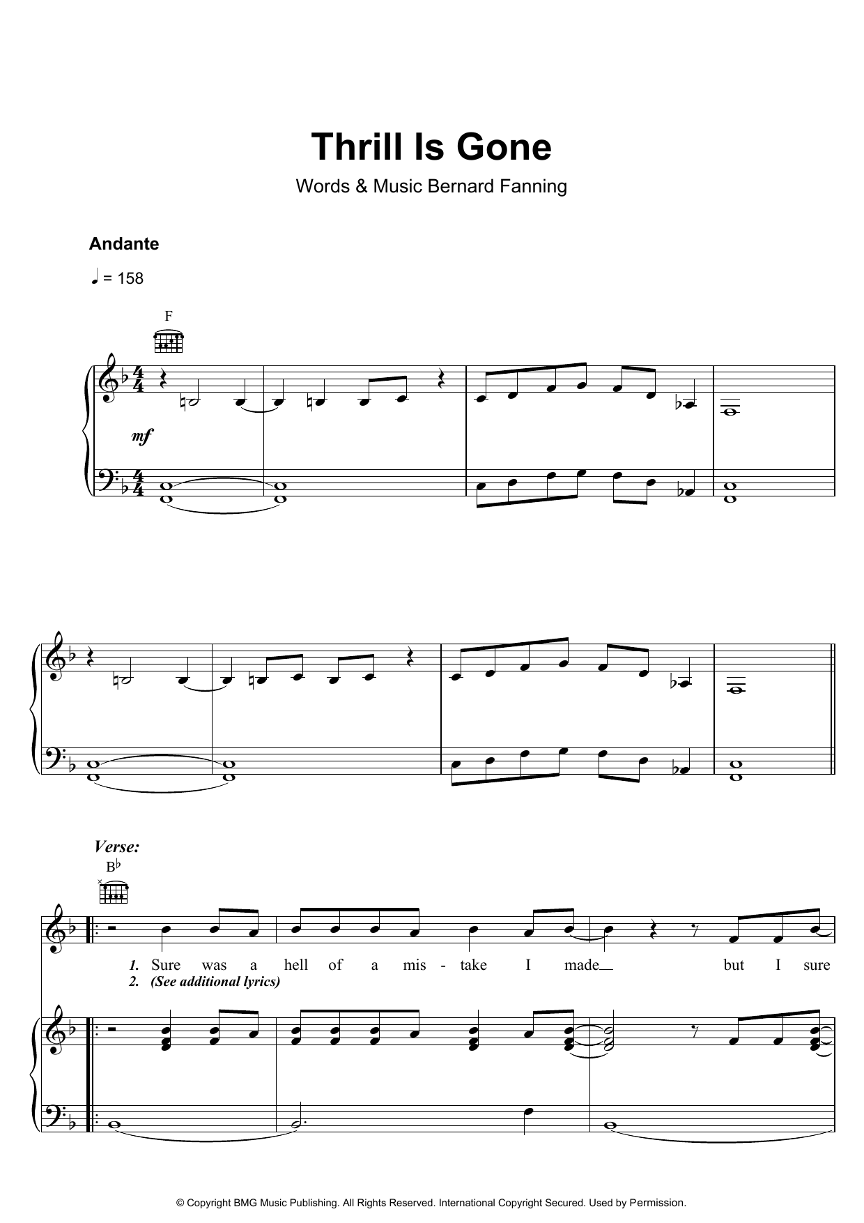 Bernard Fanning Thrill Is Gone sheet music preview music notes and score for Piano, Vocal & Guitar (Right-Hand Melody) including 5 page(s)