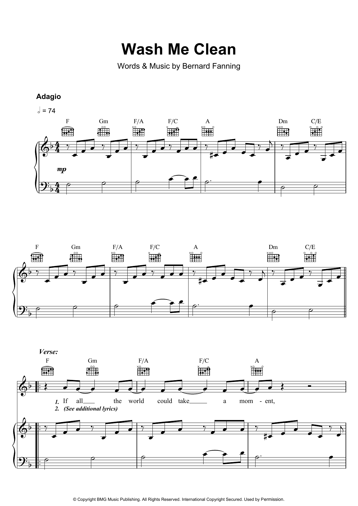 Bernard Fanning Wash Me Clean sheet music preview music notes and score for Piano, Vocal & Guitar including 5 page(s)