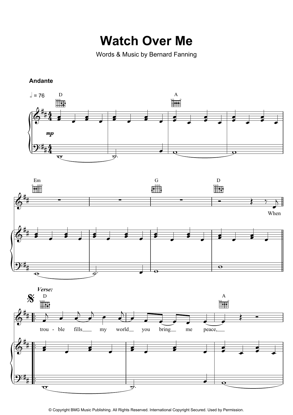 Bernard Fanning Watch Over Me sheet music preview music notes and score for Piano, Vocal & Guitar including 5 page(s)