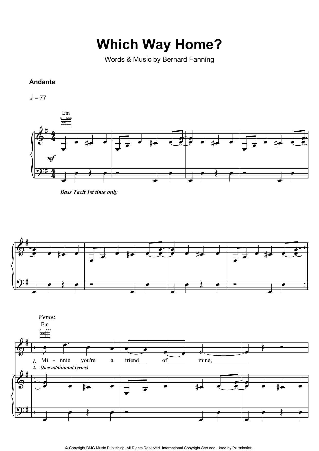 Bernard Fanning Which Way Home sheet music preview music notes and score for Piano, Vocal & Guitar including 7 page(s)