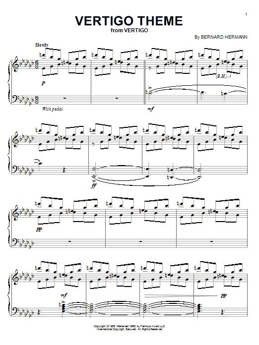 Bernard Hermann Vertigo Theme sheet music preview music notes and score for Piano including 6 page(s)