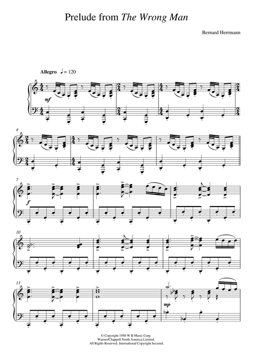 Download Bernard Herrmann 'Prelude From The Wrong Man' Digital Sheet Music Notes & Chords and start playing in minutes