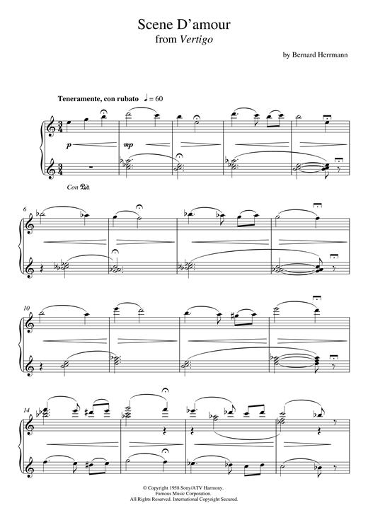 Download Bernard Herrmann 'Scene D'amour From Vertigo' Digital Sheet Music Notes & Chords and start playing in minutes