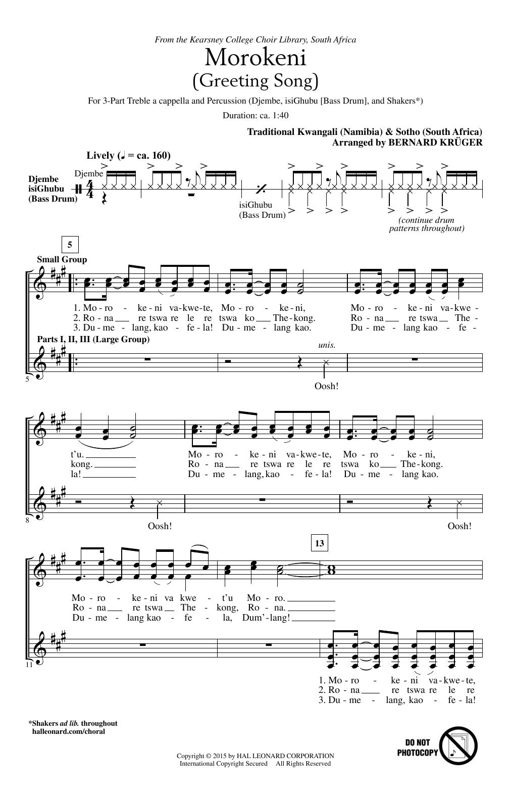 Download Bernard Krüger 'Morokeni (Welcome Song)' Digital Sheet Music Notes & Chords and start playing in minutes