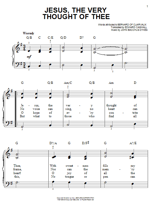 Bernard of Clairvaux Jesus, The Very Thought Of Thee sheet music notes and chords