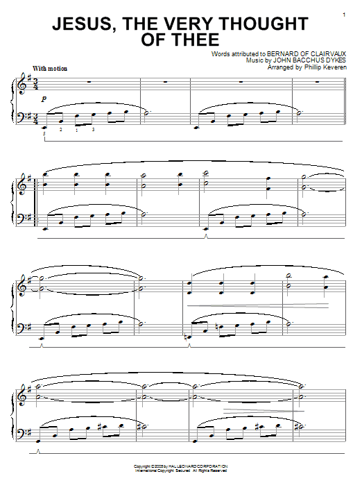 Download Bernard of Clairvaux 'Jesus, The Very Thought Of Thee' Digital Sheet Music Notes & Chords and start playing in minutes