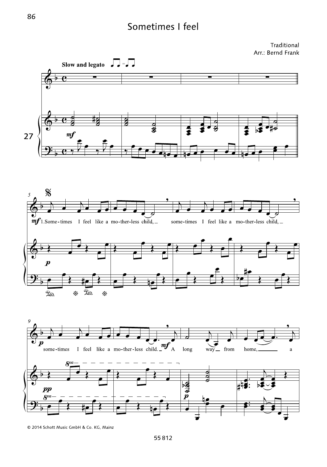 Bernd Frank Sometimes I Feel like A Motherless Child sheet music preview music notes and score for Piano & Vocal including 2 page(s)