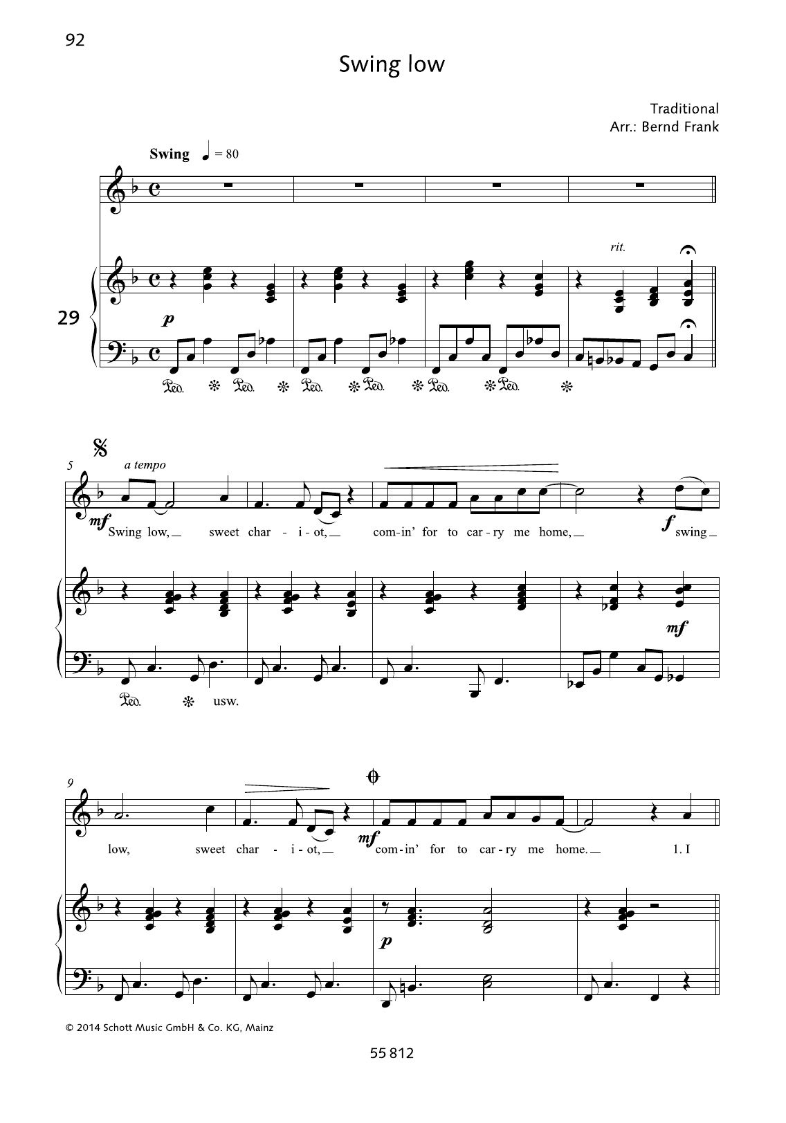 Bernd Frank Swing Low sheet music preview music notes and score for Piano & Vocal including 2 page(s)