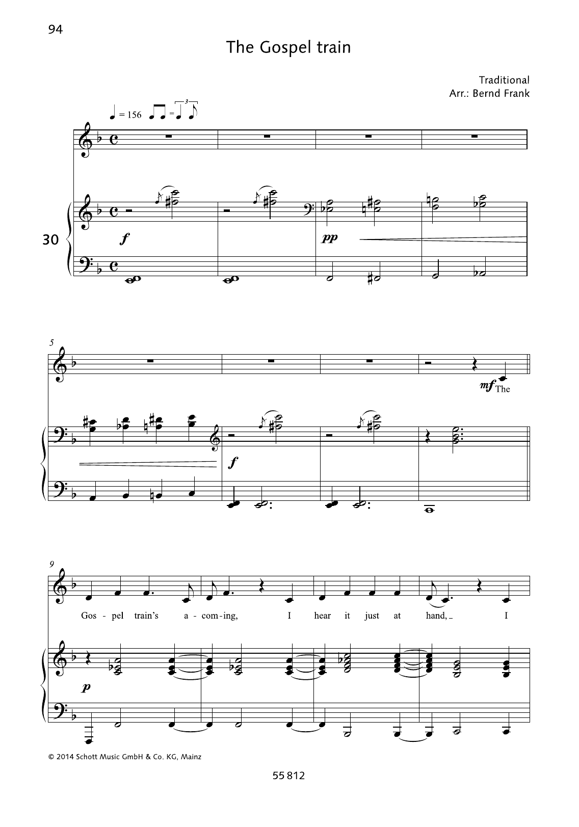 Bernd Frank The Gospel Train sheet music preview music notes and score for Piano & Vocal including 5 page(s)