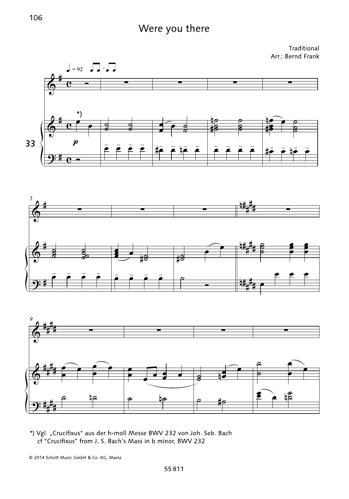 Bernd Frank Were You There sheet music preview music notes and score for Piano & Vocal including 6 page(s)