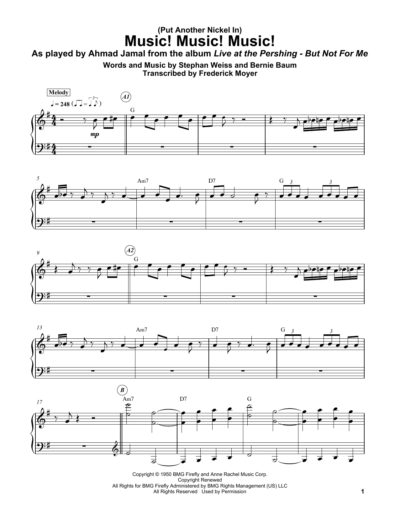 Download Bernie Baum '(Put Another Nickel In) Music! Music! Music!' Digital Sheet Music Notes & Chords and start playing in minutes