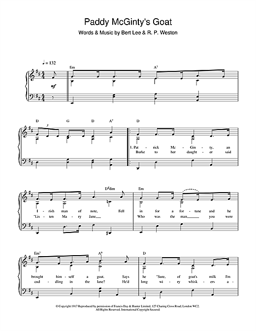 Bert Lee Paddy McGinty's Goat sheet music notes and chords