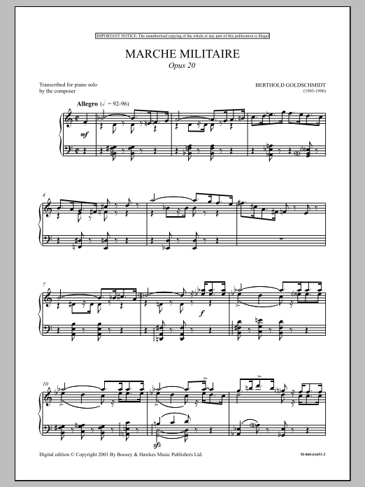 Berthold Goldschmidt Marche Militaire, Op. 20 sheet music preview music notes and score for Piano including 8 page(s)