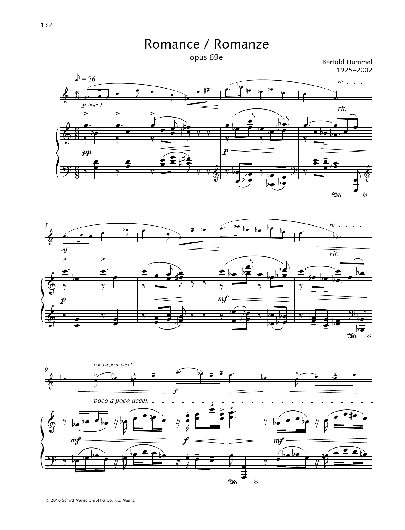 Bertold Hummel Romance sheet music preview music notes and score for Woodwind Solo including 3 page(s)