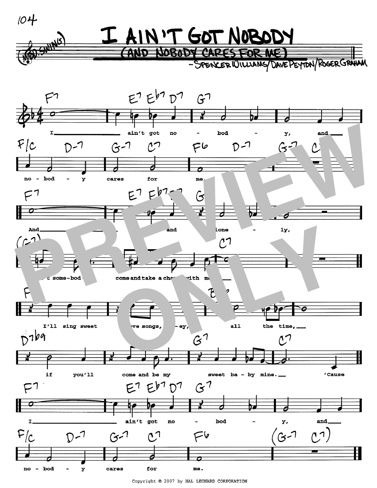 Bessie Smith I Ain't Got Nobody (And Nobody Cares For Me) sheet music preview music notes and score for Easy Piano including 3 page(s)