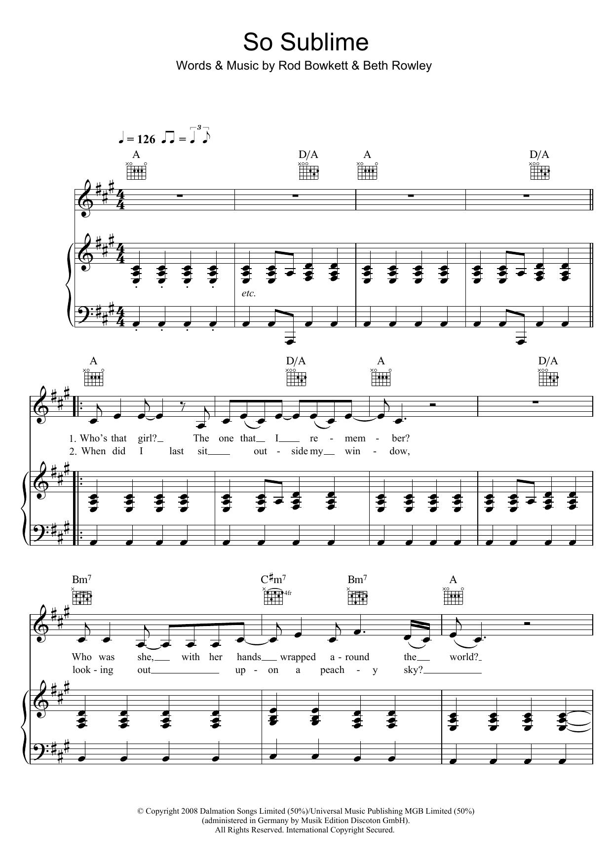 Beth Rowley So Sublime sheet music preview music notes and score for Piano, Vocal & Guitar including 5 page(s)