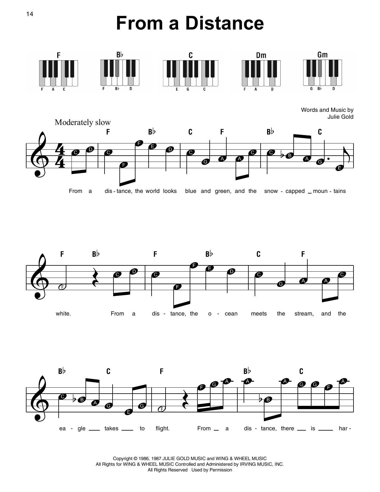 Bette Midler From A Distance sheet music notes and chords