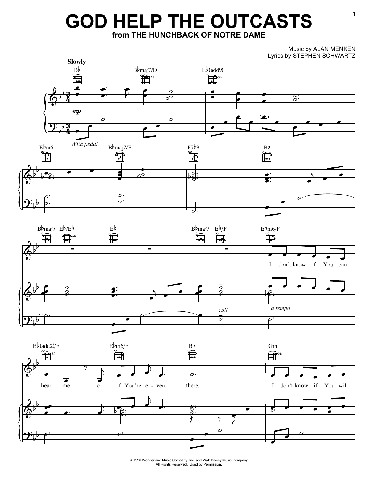 Bette Midler God Help The Outcasts sheet music preview music notes and score for Piano, Vocal & Guitar (Right-Hand Melody) including 6 page(s)