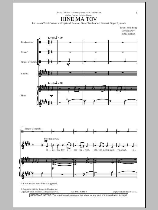 Download Betty Bertaux 'Hine Ma Tov' Digital Sheet Music Notes & Chords and start playing in minutes