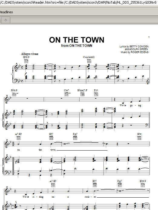 Betty Comden On The Town sheet music preview music notes and score for Piano, Vocal & Guitar (Right-Hand Melody) including 5 page(s)