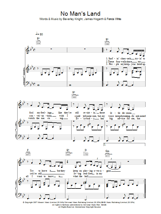 Beverley Knight No Man's Land sheet music preview music notes and score for Piano, Vocal & Guitar including 5 page(s)
