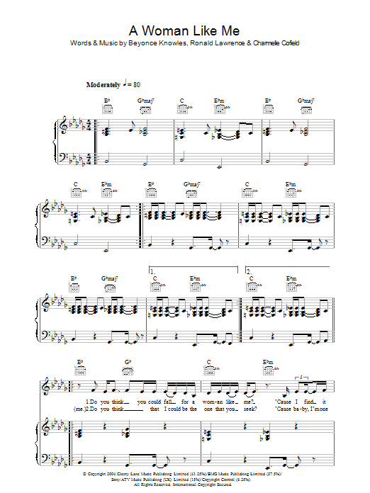 Beyoncé A Woman Like Me sheet music preview music notes and score for Piano, Vocal & Guitar including 6 page(s)