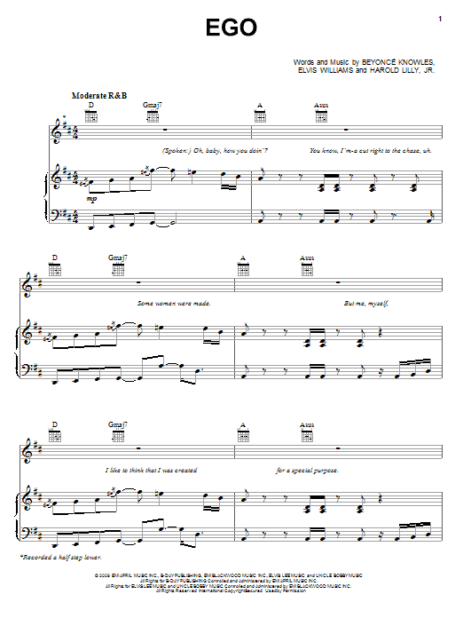 Beyoncé Ego sheet music preview music notes and score for Piano, Vocal & Guitar (Right-Hand Melody) including 7 page(s)