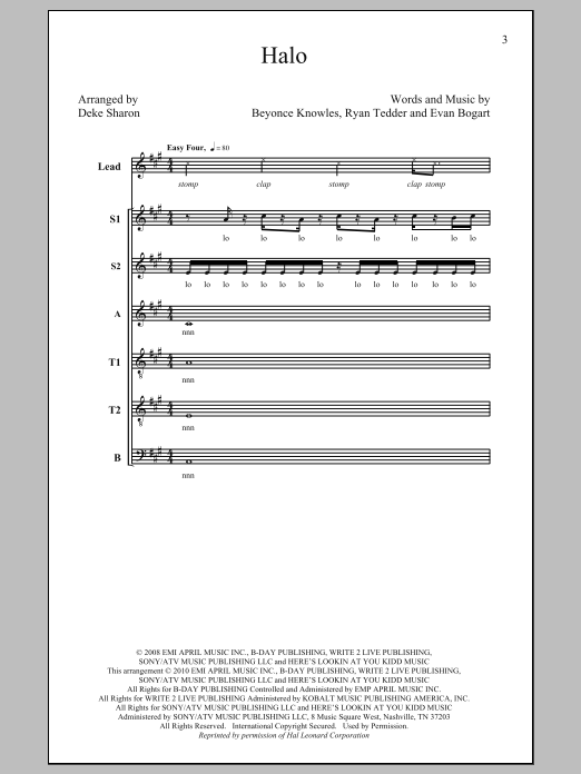 Download Beyoncé 'Halo (arr. Deke Sharon)' Digital Sheet Music Notes & Chords and start playing in minutes