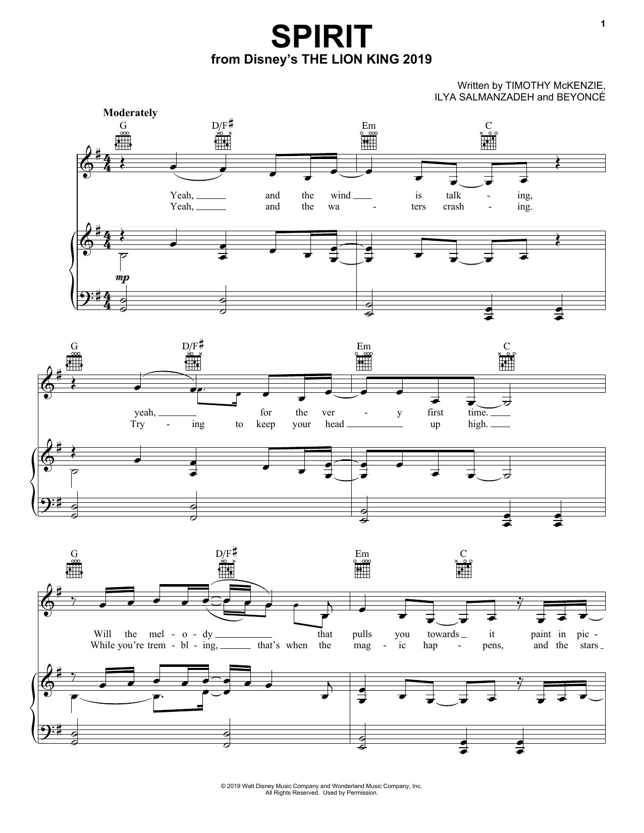Beyonce Spirit (from The Lion King 2019) sheet music preview music notes and score for E-Z Play Today including 5 page(s)