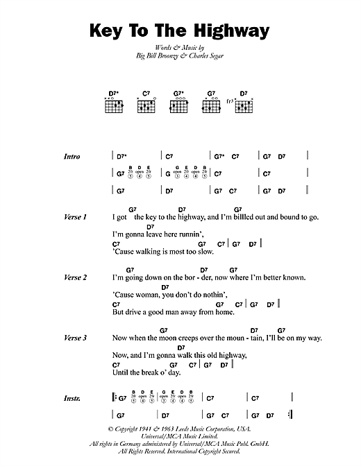 Big Bill Broonzy Key To The Highway sheet music preview music notes and score for Guitar Tab including 2 page(s)