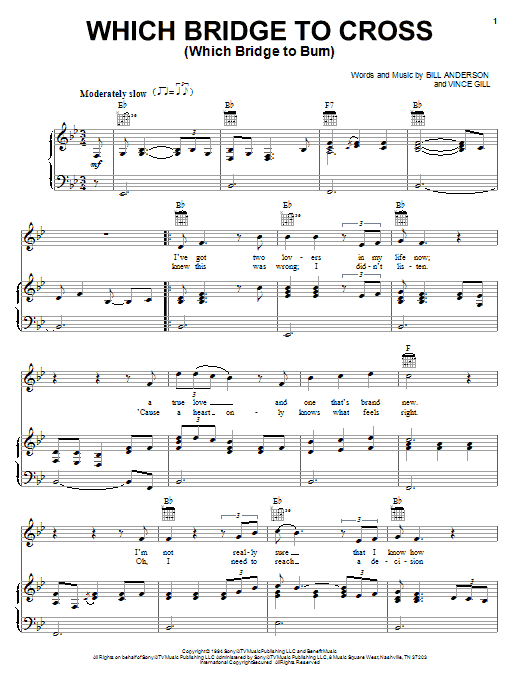 Bill Anderson Which Bridge To Cross (Which Bridge To Burn) sheet music preview music notes and score for Piano, Vocal & Guitar (Right-Hand Melody) including 5 page(s)
