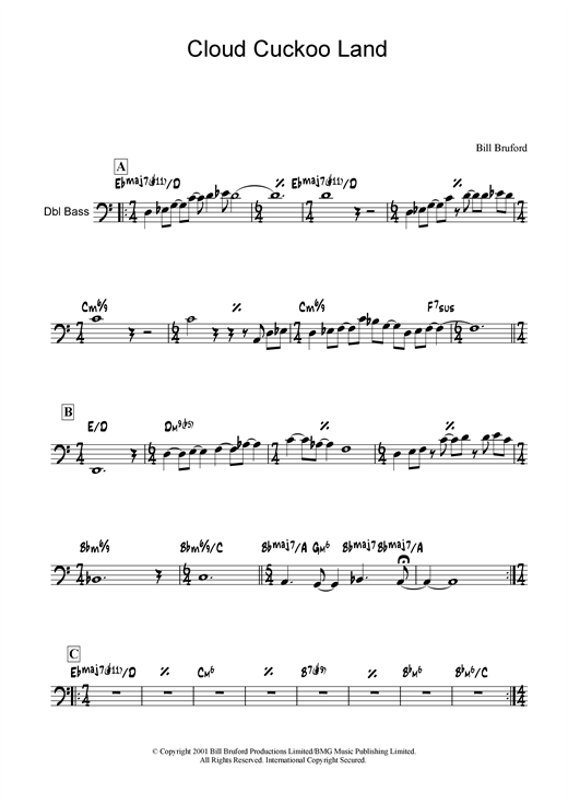 Download Bill Bruford 'Cloud Cuckoo Land' Digital Sheet Music Notes & Chords and start playing in minutes
