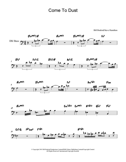 Download Bill Bruford 'Come To Dust' Digital Sheet Music Notes & Chords and start playing in minutes