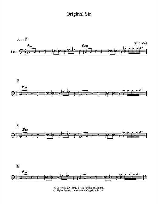 Download Bill Bruford 'Original Sin' Digital Sheet Music Notes & Chords and start playing in minutes