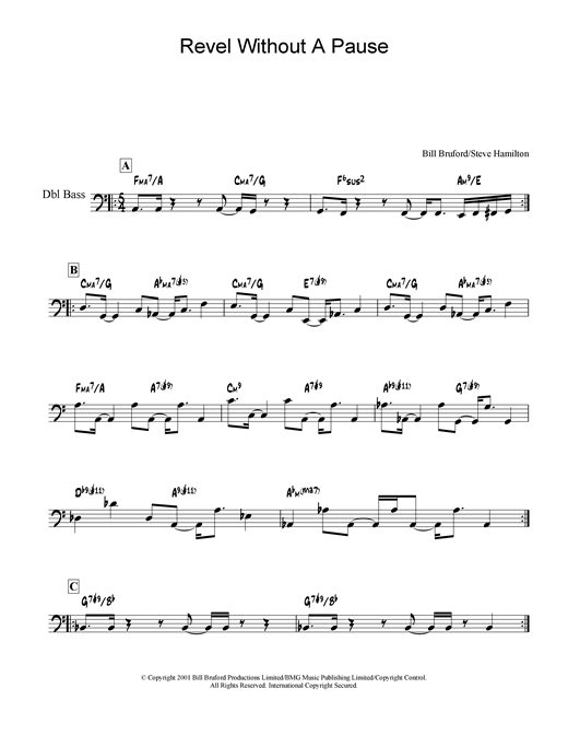 Download Bill Bruford 'Revel Without A Pause' Digital Sheet Music Notes & Chords and start playing in minutes