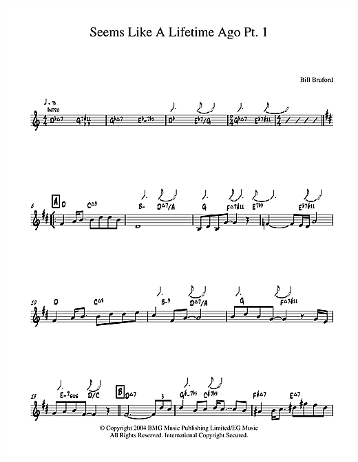 Bill Bruford Seems Like A Lifetime Ago Pt. 1 sheet music notes and chords