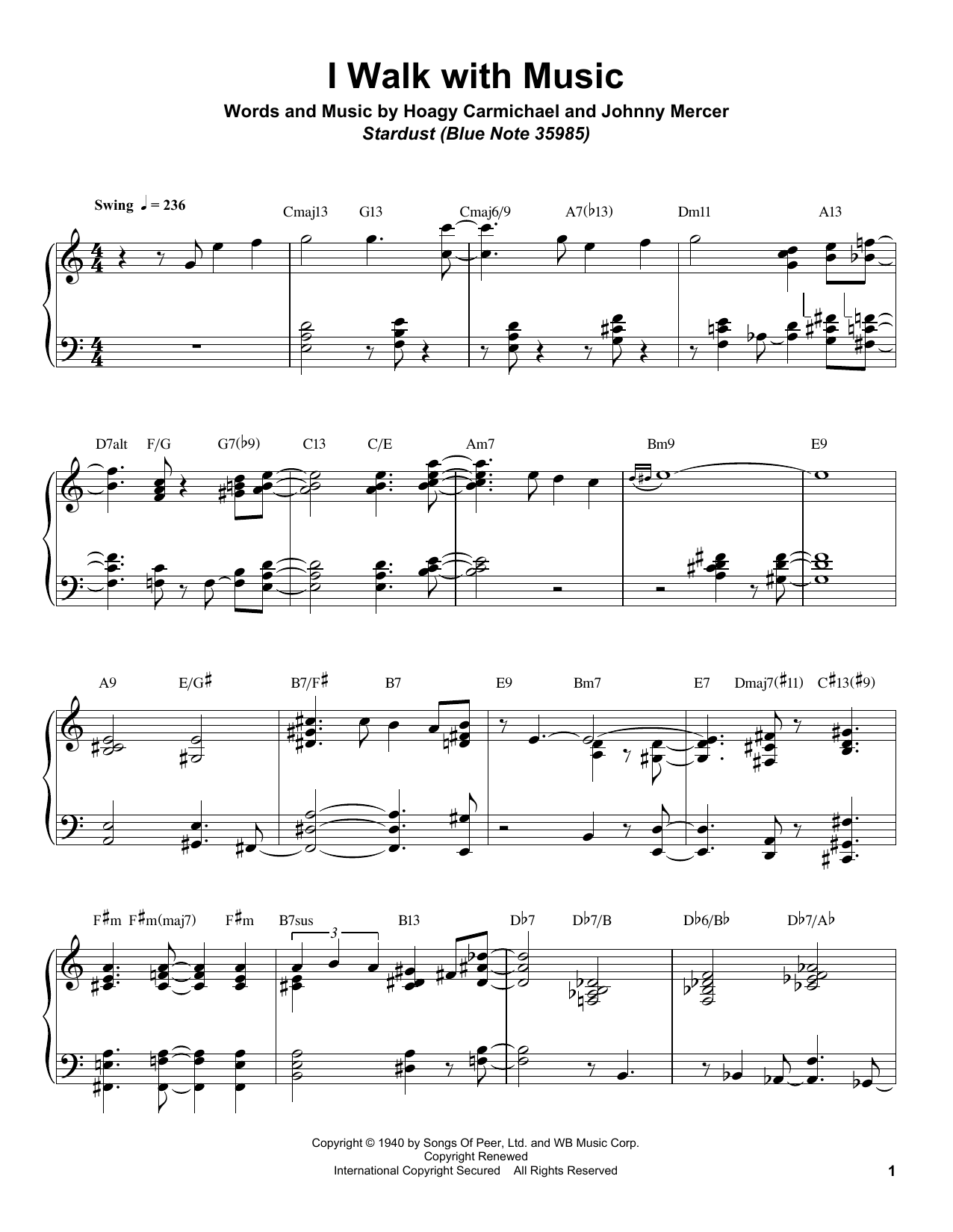 Download Bill Charlap 'I Walk With Music' Digital Sheet Music Notes & Chords and start playing in minutes