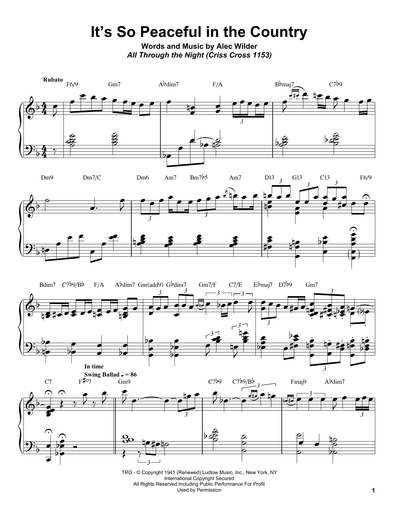 Download Bill Charlap 'It's So Peaceful In The Country' Digital Sheet Music Notes & Chords and start playing in minutes