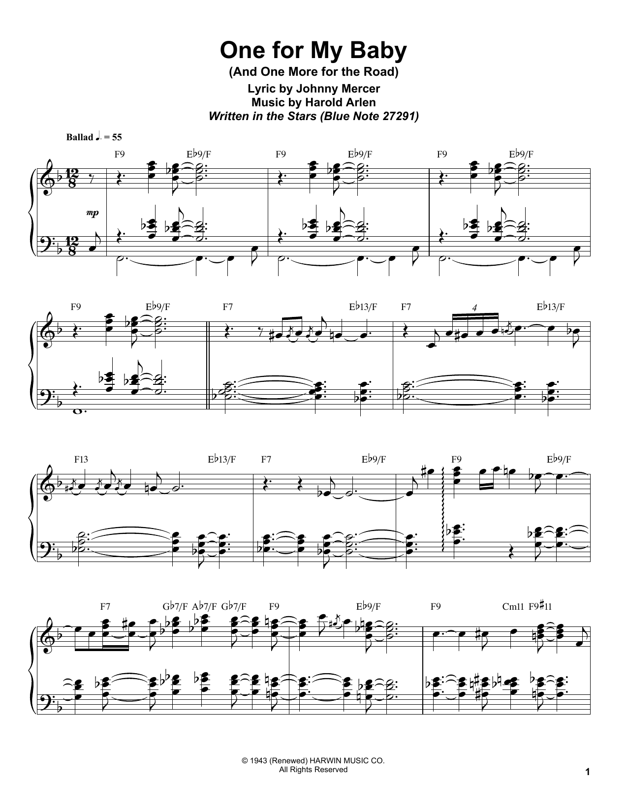 Download Bill Charlap 'One For My Baby (And One More For The Road)' Digital Sheet Music Notes & Chords and start playing in minutes