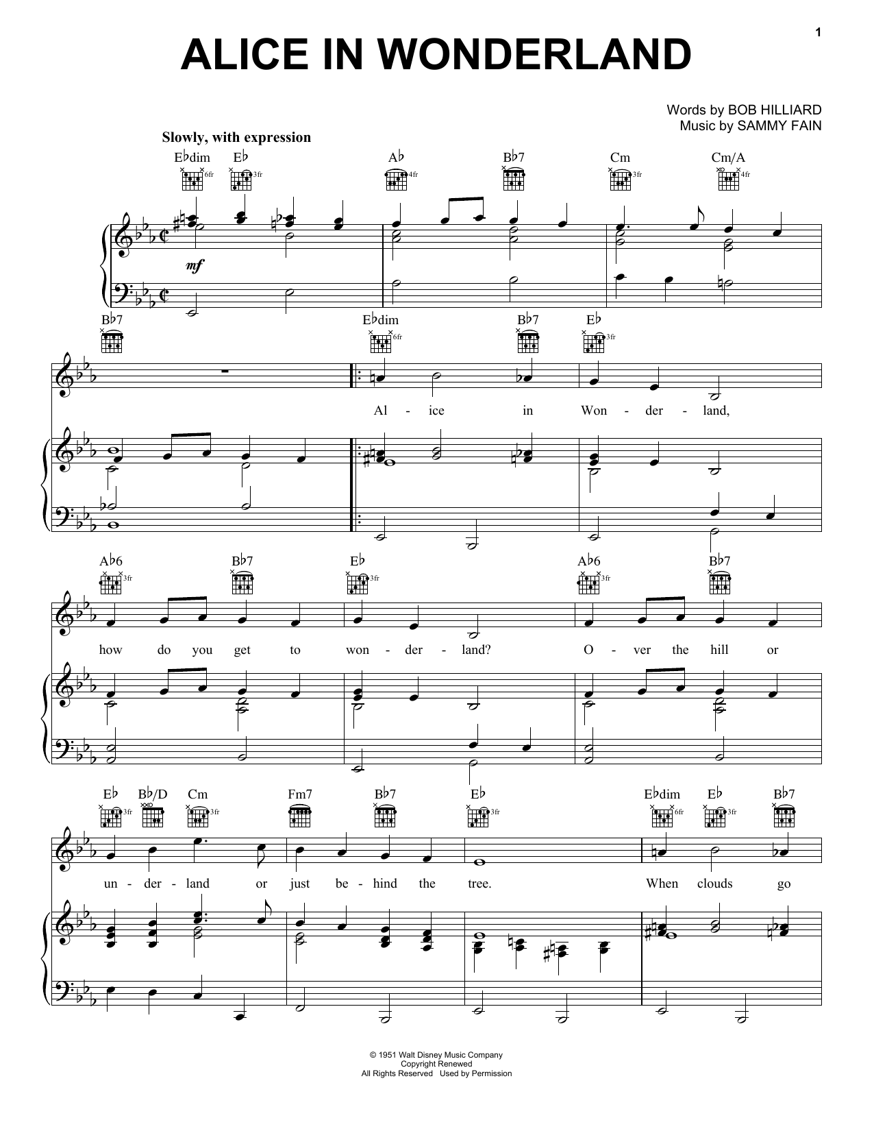 Bill Evans Alice In Wonderland sheet music notes and chords