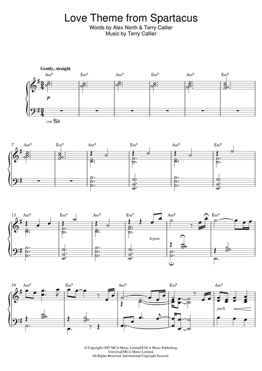 Bill Evans Love Theme From Spartacus sheet music notes and chords