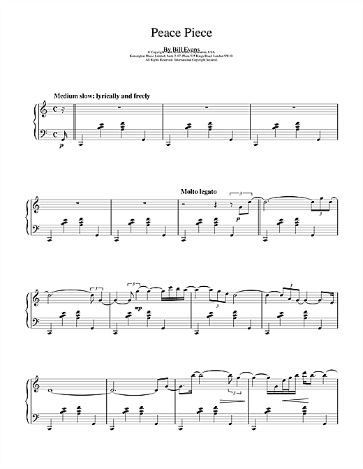 Download Bill Evans 'Peace Piece' Digital Sheet Music Notes & Chords and start playing in minutes