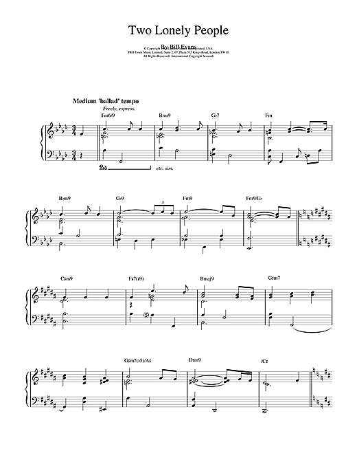 Download Bill Evans 'Two Lonely People' Digital Sheet Music Notes & Chords and start playing in minutes