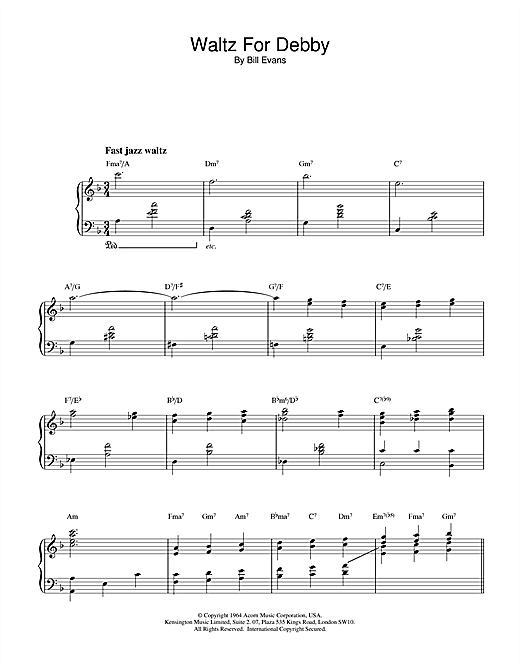 Download Bill Evans 'Waltz For Debby' Digital Sheet Music Notes & Chords and start playing in minutes