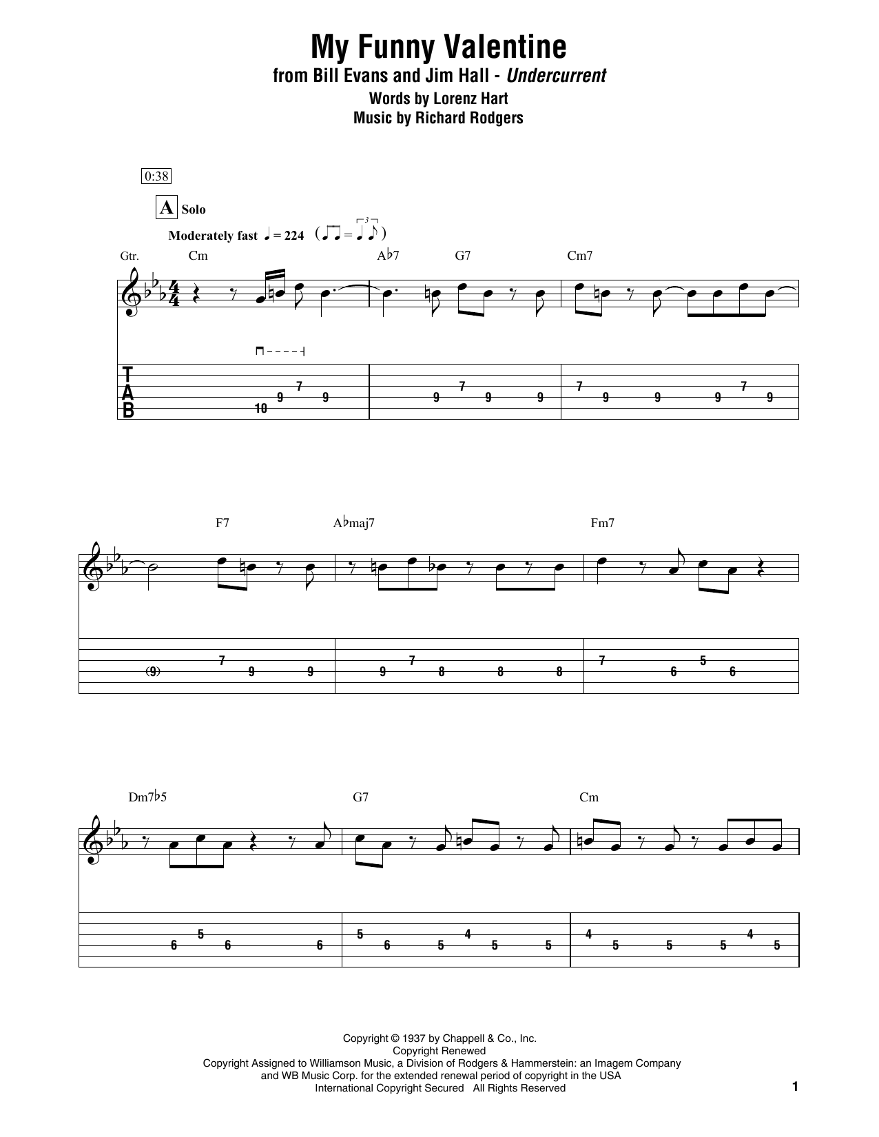 Download Bill Evans & Jim Hall 'My Funny Valentine' Digital Sheet Music Notes & Chords and start playing in minutes