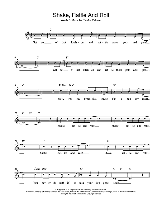 Bill Haley Shake, Rattle And Roll sheet music preview music notes and score for Piano, Vocal & Guitar (Right-Hand Melody) including 5 page(s)